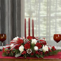 Family Traditions #35612 see viviano.com Flower Shop Christmas holiday table centerpiece with candles, roses, evergreens