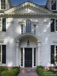 CURB APPEAL – another great example of beautiful design. traditional clapboard with red brick walkway. Traditional Home Exteriors, Traditional House, Black Front Doors, Black Door, Black Shutters, White Siding, Clapboard Siding, Colonial Style Homes, White Houses