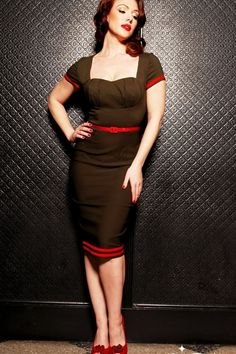 Pinup Couture - Military Pinup Dress in Olive Green with Red Trim
