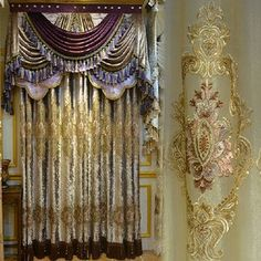 European Victorian Style Gold Velvet Vintage Curtain Without Valance