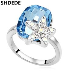 f0a6d60f0 SHDEDE Blue Rings Crystal from Swarovski Wedding Engagement Rings For Women  Fashion Starfish Designer Jewelry 15807