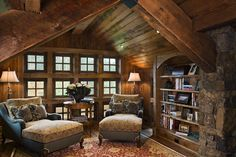 Our loft just needs some nice bookshelves and weathered leather couch suite with a rustic cypress coffee table to add a little of this ambiance!  Easy......ha