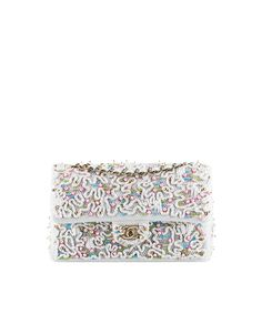 Chanel classic flap bag embroidered with sequins and pearls