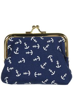 Navy Anchor Clip Frame Purse in Blue from Topshop ... I <3 nautical things