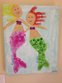 Toddler / Kids Mermaid Art: I made this with my girls footprints (tail), handprints (hair) and fingerprints (swim top and tail scales). Would be really cute in a playroom or even for a gift for mom or grandma.