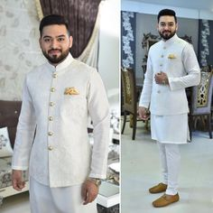 Fayyaz Ejaz in a paired with straight pajamas and a short kurta at his by Waistcoat Men Wedding, Sherwani For Men Wedding, Wedding Dresses Men Indian, Wedding Dress Men, Sherwani Groom, Ethnic Wedding, Wedding Wear, Mens Indian Wear, Indian Groom Wear