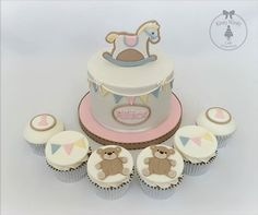 rocking horse cake topper and cake by Kirsty Wirsty Cake Emporium
