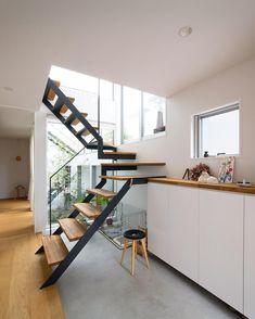 Interior Stairs, Interior Architecture, Interior And Exterior, Interior Design, Entryway Stairs, House Stairs, Tiny House, Stair Handrail, Student House