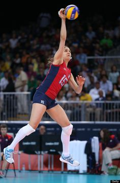 Logan Tom of United States serves in the Women's Volleyball Preliminary match between the United States and Brazil on Day 3 of the London 2012 Olympic Games at Earls Court on July 30, 2012 in London, England.