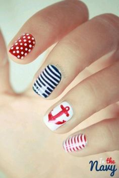 Nautical nails - Add some glitter!