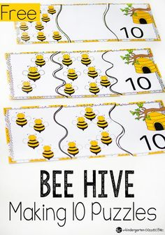 Free Introduce addition to your kindergarteners with these fun bee hive puzzles for making Great for a spring or bug unit! Preschool Math, Kindergarten Math, Teaching Math, Making 10, Math Stations, Math Centers, Bee Activities, Number Activities, Free Math Games