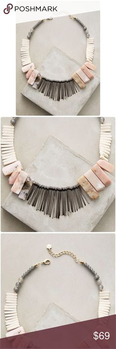 "Anthropologie Stone Sunset Bib Necklace NWT Stone Sunset Bib Necklace Anthropologie ❤️ Gold, silver, black rhodium and copper plated brass, rhodonite, rose quartz, smoky quartz, gray Czech crystals, bone Lobster clasp Imported  Dimensions 15""L with 2"" extender chain 1.75"" bib Shipping & Returns Anthropologie Jewelry Necklaces"
