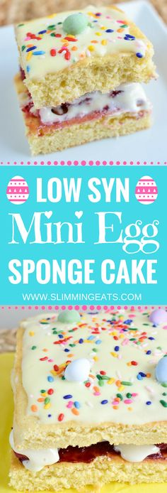 Slimming Eats Easter Mini Egg Sponge Cake - vegetarian, Slimming World and Weight Watchers friendly