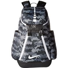 Nike Hoops Elite Max Air Team Basketball Backpack Water-resistant bottom creates a durable exterior. Nike Quad Zip System offers easy access to your gear from all angles. Black And White Backpacks, Grey Backpacks, School Backpacks, Nike Bags, Nike Elite Socks, Backpack Bags, Bag Accessories, Air Jordans, Shoulder Strap