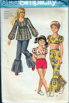 30ad87b796 1970s pattern for girls casual outfirlts. Love the bell bottoms! Vintage  Dress Patterns