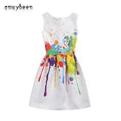 7.70$  Watch now - http://alizpz.shopchina.info/go.php?t=32794654038 - Girls Dress For Girls Clothes Summer Flower Pattern Costume Teenage Kid Children Party Girl Dresses Cotton Casual 2017 New Brand 7.70$ #aliexpresschina
