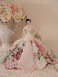 Pretty Vintage Napkin Lady with Handkerchiefs