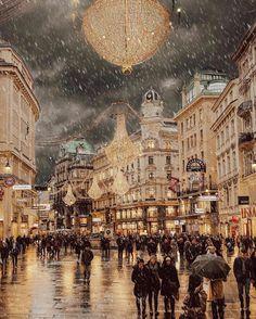 Christmas vibes at Graben Vienna Austria . Napoleon Hill, Travel Images, Travel Photos, Santorini, Bangkok, Cool Places To Visit, Places To Go, Dubai, Road Trip