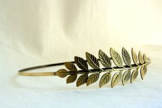 Athena Grecian Headband with Single Leaf in Antique Brass.