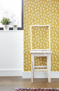 X Marks the Spot – Accent Wall - Chasing Paper Unique Wallpaper, Diy Wallpaper, Spotted Wallpaper, Kids Room Accessories, Temporary Wallpaper, Simple Prints, Apartment Living, Living Room, Decoration