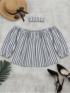 Puff Sleeve Striped Blouse with Chocker - STRIPE M