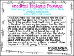 Writing Dialogue Freebie! Students edit and punctuate a passage for dialogue…