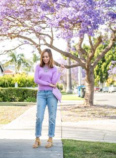 Sydne Style wears lavender and yellow trend for celebrity inspired outfit ideas