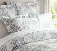 $129 duvet/ $39 pillow shams Lucianna Medallion Duvet Cover & Sham - Gray | Pottery Barn