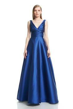 Draped V-Neck Ballgown - #882654 - Cut from exquisite cobalt zibeline silk, this…