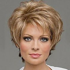 Extra Short Mix Color Natural Curly Hair Synthetic Wig With Side Bang For Women