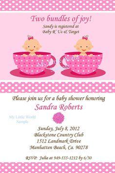 Twin Baby Shower invitation - DIY Printable 4x6 or 5x7. $12.00, via Etsy.