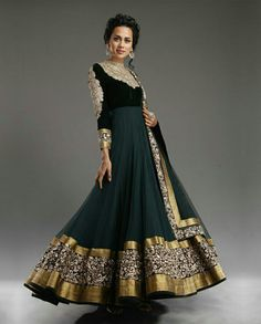 Anarkali Dress by Indian Designers, flared umbrella long dress with Dragon Teal Velvet bodice and Dragon fly green Chiffon umbrella features stunning embellishments around the neckline, front and sleeves. Wide border all around Bridal Anarkali Suits, Anarkali Dress, Black Anarkali, Green Lehenga, Frock Design, Mode Bollywood, Bollywood Fashion, Designer Anarkali, Indian Attire
