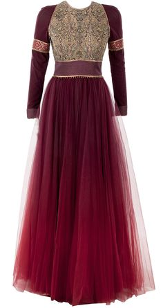 Maroon ombre anarkali set available only at Pernia's Pop-Up Shop.