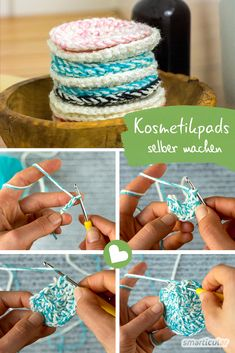 Adieu cotton pads: Cosmetic pads ° C washable) just crochet yourself! Diy 2019, Knitting Patterns, Crochet Patterns, Needle Felted, Cotton Pads, Tampons, Diy Makeup, Diy Beauty, Knit Crochet