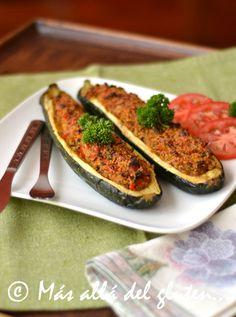 Más allá del gluten...: Zucchinis Rellenos al Horno (Receta GFCFSF, Vegana)