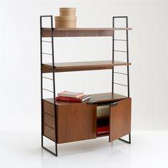 Watford steel and walnut shelving unit, walnut/black, La Redoute Interieurs  | La Redoute