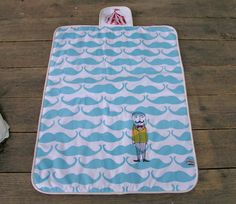 screen printed changing pad Monsieur moustache by normadot on Etsy, $52.00