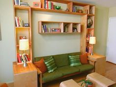 Diy storage ideas for small spaces Above the bed in a living room install shelves on which you can put your stuff. But don't put very heavy items.
