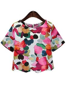 White Round Neck Ikat Neat Awesome Floral Crop Blouse US$16.48