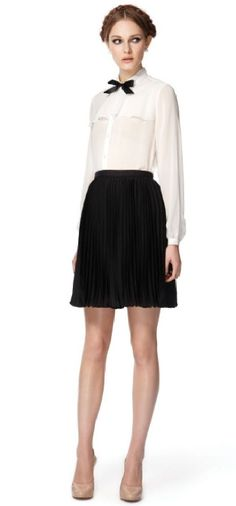 Long-sleeved sheer blouse in white with black ribbon, $34.99. Jason Wu for Target.