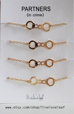 Items similar to Set of 3 Partners in Crime Bracelets Gold Handcuffs Bracelets Partner in Crime matching bracelet gift idea BFF jewelry Gold plated handcuff on Etsy Bff Bracelets, Best Friend Bracelets, Bff Necklaces, Best Friend Jewelry, Bracelet Set, Friendship Bracelets, Couple Necklaces, Bff Gifts, Best Friend Gifts