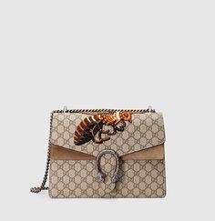 Gucci - borsa a spalla dionysus in tessuto GG supreme con ricamo 400235KHNTN8700