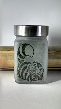 Alice in Wonderland Inspired Cheshire Cat Stash by Twisted420Glass Stash Jar, Glass Jar, 420, Glass Pipe, Bong, Bongs, Air Tight, 710, oil, Hash oil, Cannabis, Weed, Marijuana, Stash