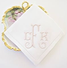 Hemstitched Monogrammed Handkerchief, Personalized Embroidered Bridal Handkerchief, Wedding Handkerchief