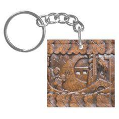 Mirada oriental de madera tallada llavero cuadrado acrílico a una cara
