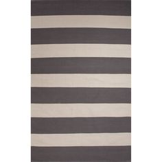 This cotton rug features a stripe pattern in shades of grey and white . This rug will give any room a casual touch.