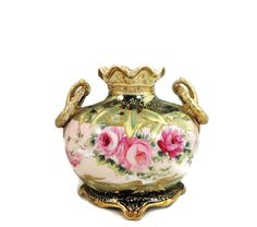 Victorian Nippon Roses Gilt Moriage Vase by PremierAntiquesNY