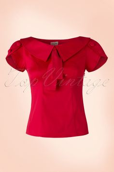 """The 40s Frou Frou Retro Style Topis a chic top in vintage 40s - 50s style!  Classic, elegant and cute! A striking vintage style collar with a fixed strap detail and flattering short sleeves with little wrap-overs and adorable """"faux"""" buttons,très élègante!Made from a lipstick red cotton blend with a light stretch for a perfect fit. Pair with trousers or a skirt, this one won't leave you with regrets!   Round..."""