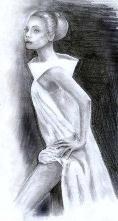 kobieta w białej sukni, ołówek i węgiel