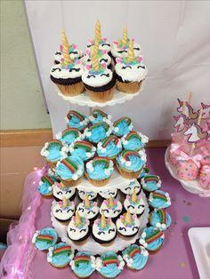 Rainbow and unicorn cupcakes i made